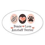 Peace Love Amstaff Terrier Oval Sticker