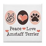 Peace Love Amstaff Terrier Tile Coaster