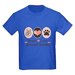 Peace Love Amstaff Terrier Kids Dark T-Shirt