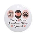 Peace Love American Water Spaniel Ornament (Round)