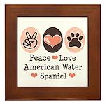 Peace Love American Water Spaniel Framed Tile