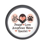 Peace Love American Water Spaniel Wall Clock