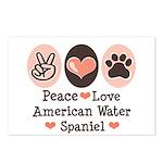 Peace Love American Water Spaniel Postcards (Packa