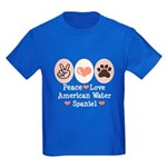 Peace Love American Water Spaniel Kids Dark T-Shir