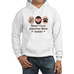 Peace Love American Water Spaniel Hooded Sweatshir