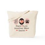 Peace Love American Water Spaniel Tote Bag