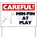 Miniature Pinscher At Play Yard Sign