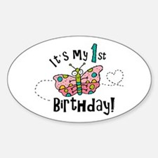 Butterly Birthday First Oval Decal