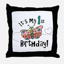 Butterly Birthday First Throw Pillow