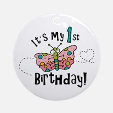 Butterly Birthday First Ornament (Round)