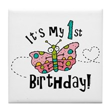 Butterly Birthday First Tile Coaster