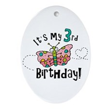 Butterfly Birthday Third Oval Ornament