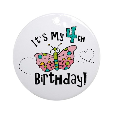 Butterfly Birthday Fourth Ornament (Round)
