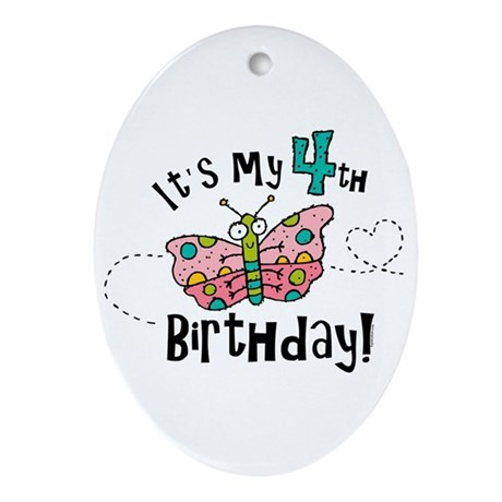Butterfly Birthday Fourth Oval Ornament