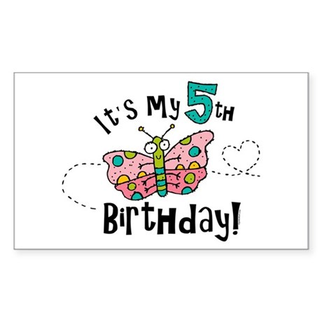 Butterfly Birthday Fifth Rectangle Sticker