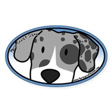 Anime Merle Great Dane Oval Decal