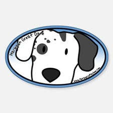 Anime Harlequin Great Dane Oval Decal