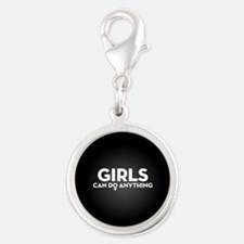 Girls Can Do Anything Silver Round Charm