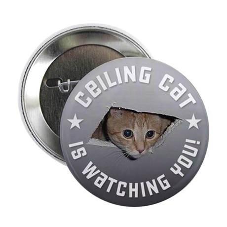 """Ceiling Cat is Watching YOU! 2.25"""" Button"""