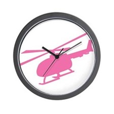 Pink Helicopter Wall Clock