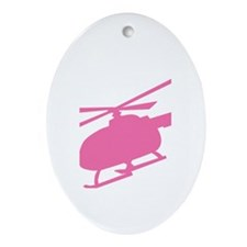 Pink Helicopter Oval Ornament