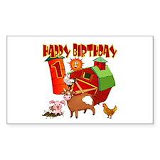 Barnyard 1st Birthday Rectangle Decal