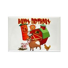 Barnyard 5th Birthday Rectangle Magnet