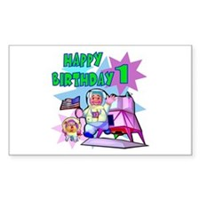 Astronaut 1st Birthday Rectangle Decal