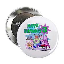 Astronaut 3rd Birthday Button (10 pack)