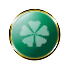 "Medallion 5 Leaf Clover 3.5"" Button"