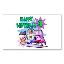 Astronaut 4th Birthday Rectangle Decal