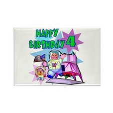 Astronaut 4th Birthday Rectangle Magnet (10 pack)