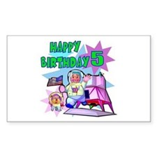 Astronaut 5th Birthday Rectangle Decal