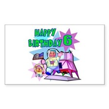 Astronaut 6th Birthday Rectangle Decal