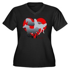 Horses of the Heart Women's Plus Size V-Neck Dark