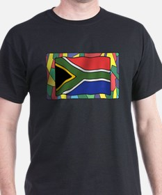 South Africa Flag On Stained Glass T-Shirt