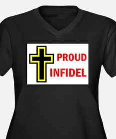PROUD INFIDEL Women's Plus Size V-Neck Dark T-Shir