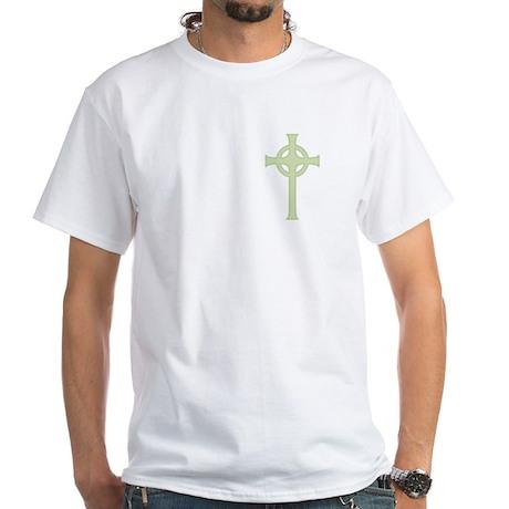 Green Celtic Cross White T-Shirt