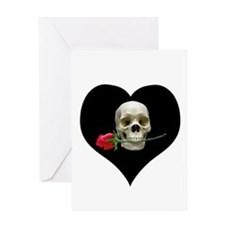Blackheart SkullRose Greeting Card