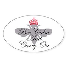 Bee Calm and Carry On Oval Decal