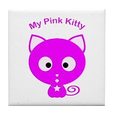My Pink Kitty Tile Coaster