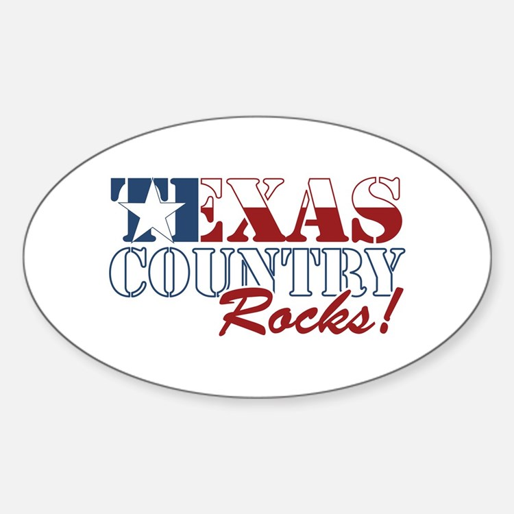 Texas Country Rocks Oval Decal