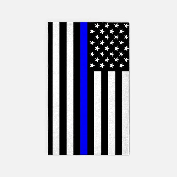 U.S. Flag: Thin Blue Line Area Rug