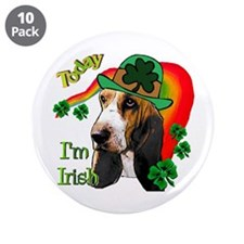 "St. Pat's Basset Hound 3.5"" Button (10 pack)"