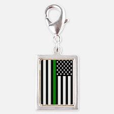 U.S. Flag: Thin Green Line Silver Portrait Charm