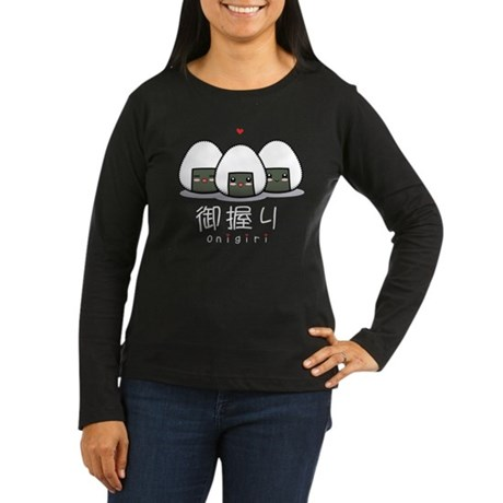 Kawaii Onigiri Women's Long Sleeve Dark T-Shirt
