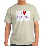 I Love Fishing (hook heart) Ash Grey T-Shirt
