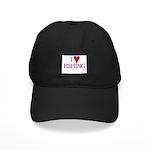 I Love Fishing (hook heart) Black Cap