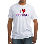 I Love Fishing (hook heart) Fitted T-Shirt