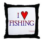 I Love Fishing (hook heart) Throw Pillow